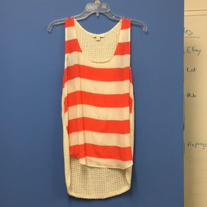 Striped tank with knit back